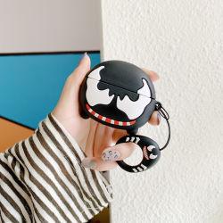Airpodsのシリコーンの箱のキーホルダーとのAirpodの充満ケースのためのかわいい漫画カバー皮