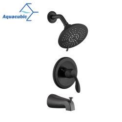صمام توازن الضغط الأسود Aquacubic باللون الأسود UPC مثبت على الحائط باستخدام استشعار الماء طقم تشذيب حوض استحمام ودش