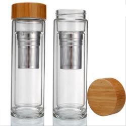 حارّ يبيع [بب-فر] خيزرانيّ غطاء [وتر بوتّل] زجاجيّة مع [ستينلسّ ستيل] شاي [إينفوسر] [400مل]