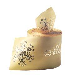 Adaptado de la fábrica 100% poliéster cinta impresa cinta de organza, terciopelo, cinta de opciones, para el producto envasado, embalaje de caja de regalo de Navidad, fiesta de vestir