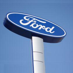 Vente chaude personnalisé vide en plein air revêtement chromé Affichage LED de la publicité de marque de voiture Ford Logo voiture 3D