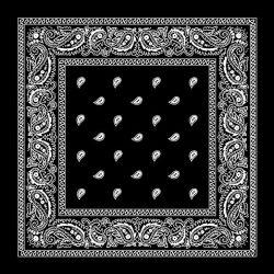 Promotion des ventes à chaud 100% coton 55cm*55cm Noir Blanc Paisley Square imprimé Bandana