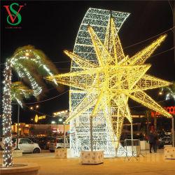 Decoração de Natal ao ar livre 3D Motif estrela gigante de metal iluminado