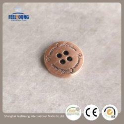 주문품 4개의 구멍은 로고 외투를 위한 빨간 구리 아연 합금 금속 단추를 새겼다
