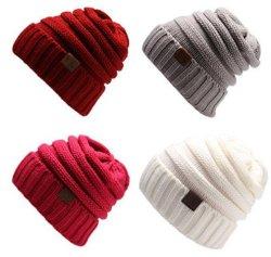 مخزون لون كبل يحبك [كّ] علامة مميّزة صلبة يحبك شتاء [بني] قبعة