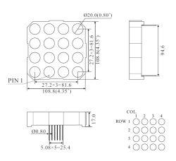 RoHS gefälliger 4 Zoll 4X4 verdoppeln Farbe LED Punktematrix