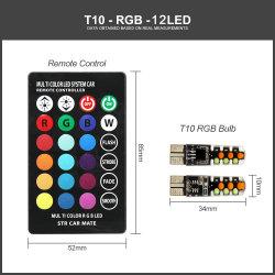 Levou T10 Carro RGB Luz 12V W5W 194 168 RGBW LED SABUGO atmosfera automático de leitura da lâmpada de xénon com controle remoto