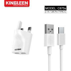 Doppel-Port Großbritannien Pin USB-Wand-Aufladeeinheit + Typ C kabelt schnellen Ladung-Stecker für Fahrwerk-Galaxie S8/Note 8