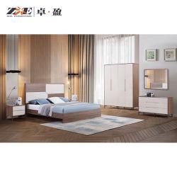 호두 색깔에 있는 나무로 되는 침대 프레임 단순한 설계 MDF 현대 침실 가구