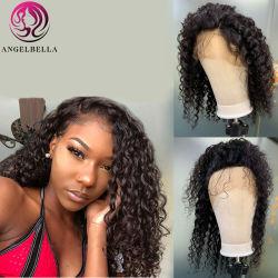 Encaracolados Angelbella Água Onda molhado 100% de cabelo humano da tecelagem de uvas por grosso de pêlos Brasileira Rendas Frontal Peruca