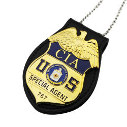 Best Seller de aluminio Cordón Ejército con cartera de cuero con Soft enamel al precio más bajo de la policía de seguridad personalizado insignias metálicas