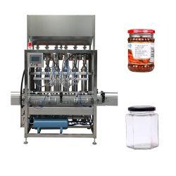 가득 차있는 자동적인 크림 또는 땅콩 버터 또는 기름 또는 잼 점성 액체 병 채우게 토마토 페이스트 매운 소스 꿀 단지 케첩 병 채우는 캡핑 레테르를 붙이는 기계