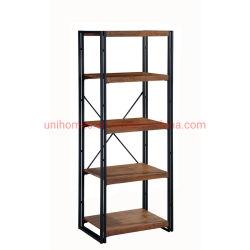 Unihomesの本だなラック5層の本箱の棚の記憶のオルガナイザーの現代木製の一見のアクセントの金属フレームの家具の家庭内オフィス