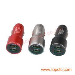 Два порта QC3.0 EQQ002M DC V12-24металлические красный/черный /silvery автомобильное зарядное устройство
