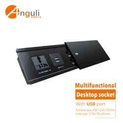Versteckter Tischplattenkontaktbuchse-Tisch-Kontaktbuchse-Multifunktionsanschluß mit USB-Kanal