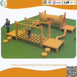 Garten-Eignung-Kindergarten-hölzernes kletternder Rahmen-Schwingen-Brücken-Bohrloch-kriechendes Kind-großes körperliches Trainings-im Freienkombinations-Spielzeug