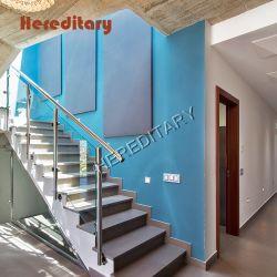 Com vidro de Aço Inoxidável Side-Mounted balaustrada e coluna escadaria redonda