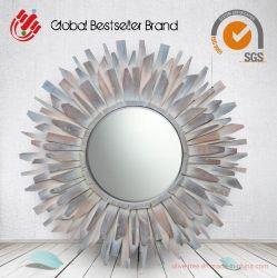 Commerce de gros à la main de l'art en bois de forme de Sun miroir décoratif miroir mural