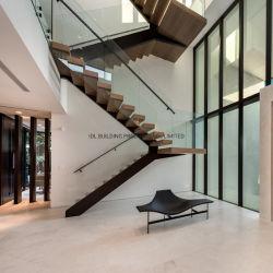 Mono Stringer escada reta escadaria de madeira tipo de piso de madeira corrimão de vidro escada reta