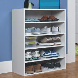 Muebles de hogar pintura blanca 5-tier Zapata apilable de Rack con Shelfs abierto para Salón