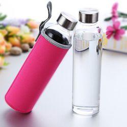 18 oz bouteille d'eau en verre borosilicaté avec manchons de protection de la bouteille de nylon et couvercle en acier inoxydable temps marqué des mesures pour aller à la maison réutilisable de voyage