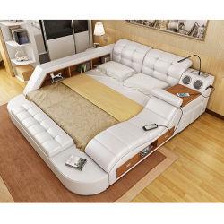 Massage multifonctionnelle chaud moderne vente lit double de meubles en cuir véritable