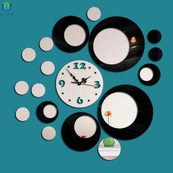De acryl Dubbele Klok van de Klok van de Muur van de Spiegel van de Kleur Cirkel Modieuze en Creatieve van de Muur DIY,