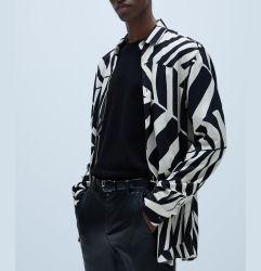 En gros le contraste de couleurs personnalisées irrégulier la chemise de Printingmen occasionnels les chemises pour hommes