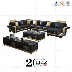 家具製造販売業モジュラー現代Uの形のコーナーの本革のソファーセット