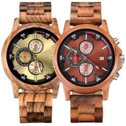 OEM del lusso del regalo di modo del fornitore per gli uomini la maggior parte della vigilanza del legno del cronografo costoso