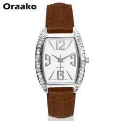 Colorida Venta caliente cara rectángulo retro de bolsillo automático de marca reloj reloj de diamantes