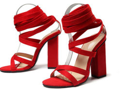 مثيرة قالب [هي هيل] خفاف [لس-وب] أحمر كاكيّة نمو نساء أحذية