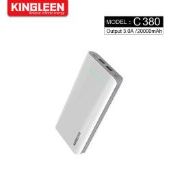 Питание Банк 20000 mAh портативное зарядное устройство с двумя USB-выход внешней аккумуляторной батареи с помощью сотового телефона светодиодный индикатор для iPhone Samsung