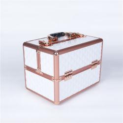 La moda de la junta de aluminio blanco oro rosa de cosméticos caso