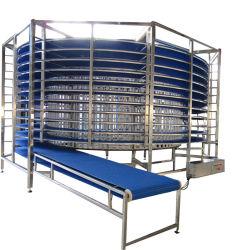 Acero inoxidable Refrigeración de secado de elevación vertical de tornillo transportador elevador/Productor de pan de desayuno Croissant Línea de transmisión de refrigeración