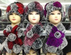 Real de invierno de pieles de Conejo Rex sombreros y bufandas Conjunto Beanie sombreros tejidos