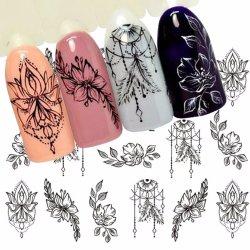 Autocollant de l'eau de fleur de bijoux autocollant noir pour motif d'Ongles peinture enrouler du papier aluminium Tattoo de pointe de la manucure