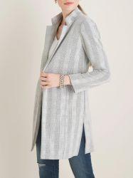 니트 패브릭의 여성용 오픈 프론트 재킷