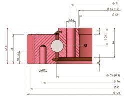 Rollix quatro pontos de contacto bola rolamento do anel giratório 31 0841 01 Turtable Rolamento de Esferas de Linha Única