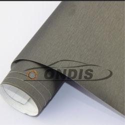 Le métal d'enrubannage de vinyle en aluminium brossé avec l'air libre de voiture