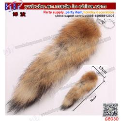 Fancy animal en peluche Grand Luxe Sac de fourrure de renard Tassel Tag charme trousseau de queue cadeau de mariage (G8030)