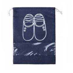 Zapato cordón no tejido Bolsa con ventana de PVC, mayorista Ecológico reciclable reutilizable Embalaje de la cadena de patines polvo Pomotional Compras bolsa de regalo