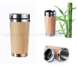 Aluguer de bambu em aço inoxidável Travel caneca de café para o Office Dom Eco-Friendly Interior de aço inoxidável térmico em bambu com isolamento de Viagens caneca