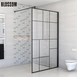黒いウォークイン固定ガラスのウェットルームシャワースクリーン