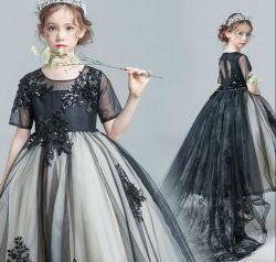 블랙 프롬은 꽃 소녀의 드레스를 반팔 끈 끈 라스 걸의 드레스를 입습니다 볼 가운 F2014622