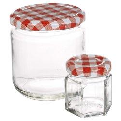 Haut de la qualité du miel pots de confiture d'emballage en verre avec couvercles métalliques colorés