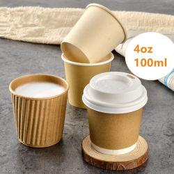 Чистый красный 100мл одноразовые молока для приготовления чая и наружное кольцо подшипника 4 унции малых кофе чашки бумаги толстая бумага Double Layer горячие напитки фруктовый вкус наружное кольцо подшипника