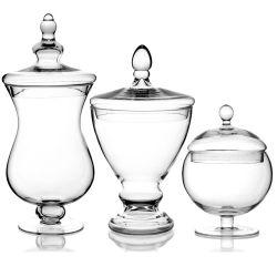 Commerce de gros apothicaire de stockage de grande taille Candy pot de verre décoratif de mariage