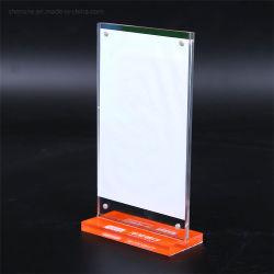 Support en acrylique Shenone signe Menu plastique Stand avec base noire