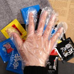 개인적인 보호 PPE 생산 선전용 작은 선물 주문을 받아서 만들어진 풀 컬러 로고 광고 로고를 가진 처분할 수 있는 비닐 PE 장갑